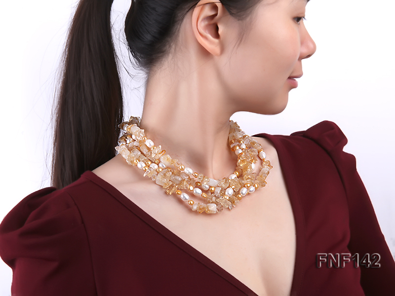 Four-strand White and Golden Freshwater Pearl and Yellow Crystal Chips Necklace big Image 6