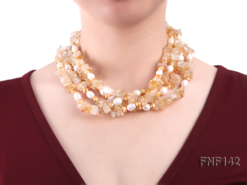 Four-strand White and Golden Freshwater Pearl and Yellow Crystal Chips Necklace big Image 2