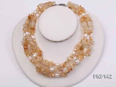 Four-strand White and Golden Freshwater Pearl and Yellow Crystal Chips Necklace FNF142 Image 1