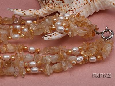 Four-strand White and Golden Freshwater Pearl and Yellow Crystal Chips Necklace FNF142 Image 5