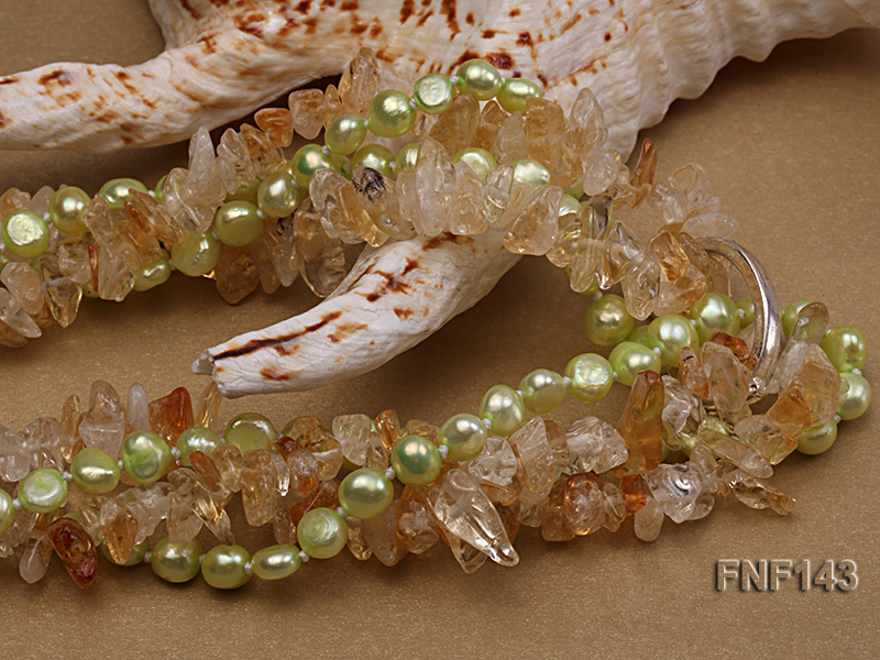 Two-strand 6-7mm light-green Freshwater Pearl and Yellow Crystal Chips Necklace big Image 4