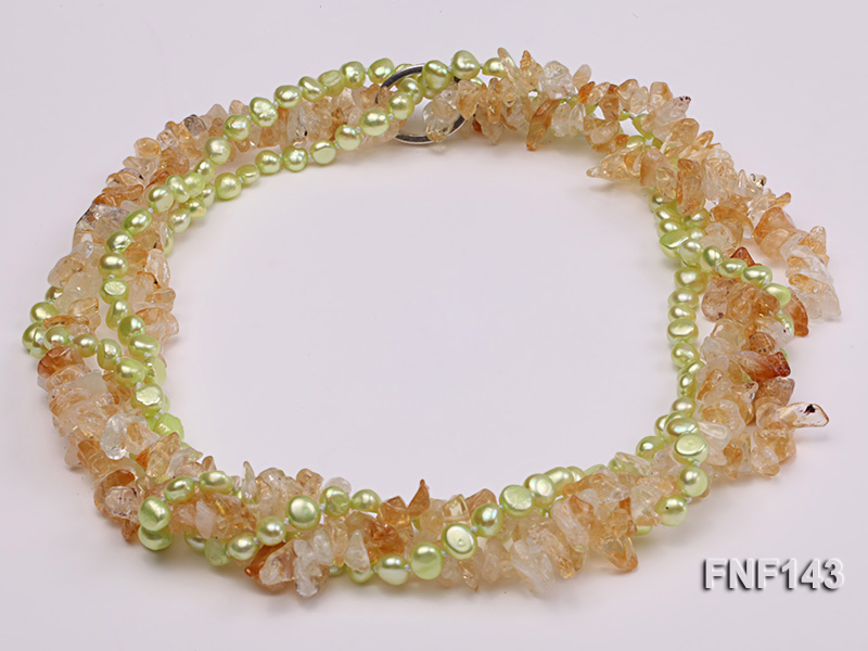 Two-strand 6-7mm light-green Freshwater Pearl and Yellow Crystal Chips Necklace big Image 1