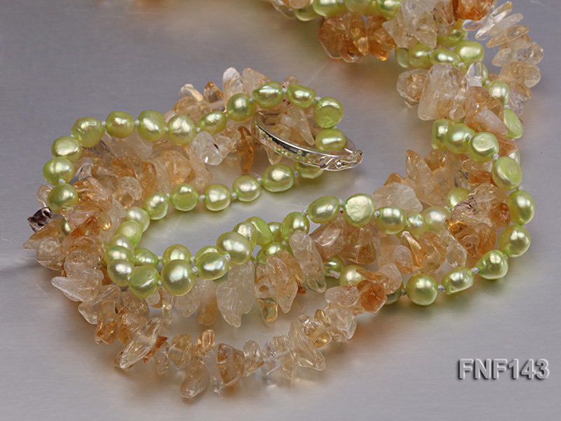 Two-strand 6-7mm light-green Freshwater Pearl and Yellow Crystal Chips Necklace big Image 5