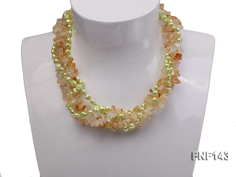 Two-strand 6-7mm light-green Freshwater Pearl and Yellow Crystal Chips Necklace big Image 6