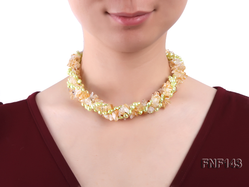 Two-strand 6-7mm light-green Freshwater Pearl and Yellow Crystal Chips Necklace big Image 2
