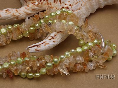 Two-strand 6-7mm light-green Freshwater Pearl and Yellow Crystal Chips Necklace FNF143 Image 4