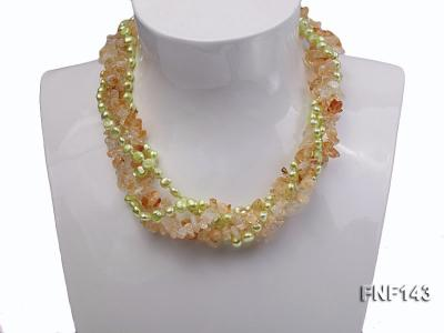 Two-strand 6-7mm light-green Freshwater Pearl and Yellow Crystal Chips Necklace FNF143 Image 6