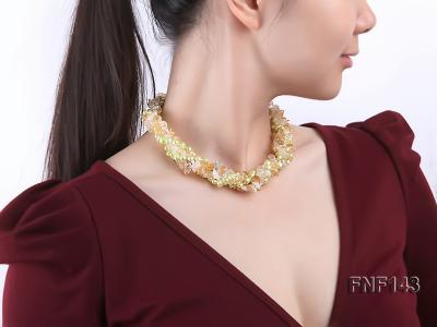 Two-strand 6-7mm light-green Freshwater Pearl and Yellow Crystal Chips Necklace FNF143 Image 7