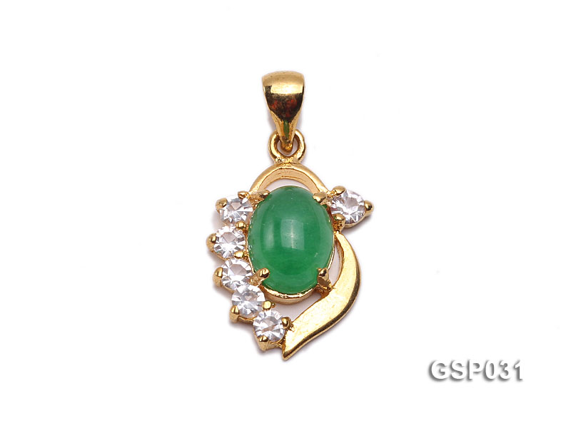 11x15mm Green Jade Cabochon Pendant with Zircon big Image 1