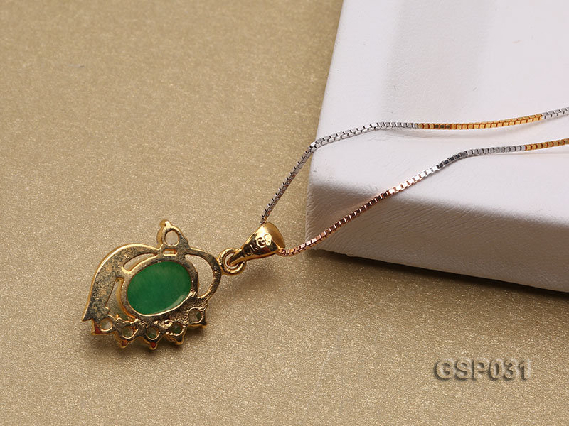 11x15mm Green Jade Cabochon Pendant with Zircon big Image 4
