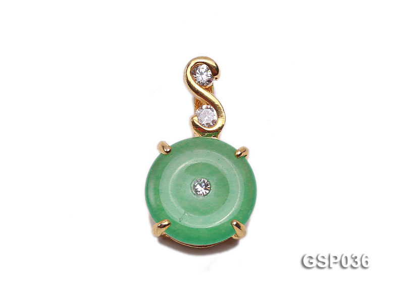 11x20mm Round Disc-Shaped Green Jade Pendant big Image 1