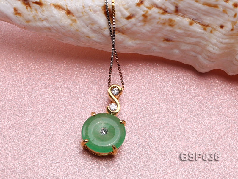 11x20mm Round Disc-Shaped Green Jade Pendant big Image 3
