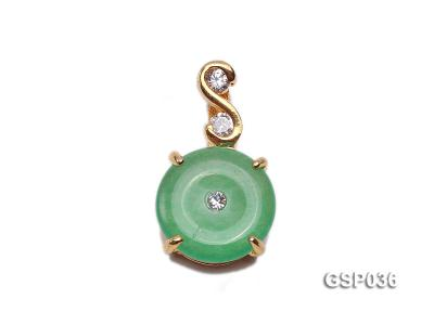11x20mm Round Disc-Shaped Green Jade Pendant GSP036 Image 1