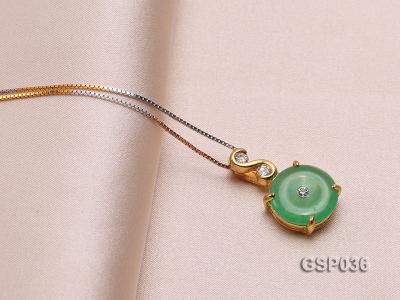 11x20mm Round Disc-Shaped Green Jade Pendant GSP036 Image 2