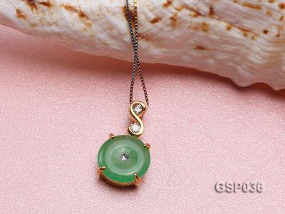 11x20mm Round Disc-Shaped Green Jade Pendant GSP036 Image 3