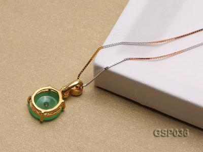 11x20mm Round Disc-Shaped Green Jade Pendant GSP036 Image 4