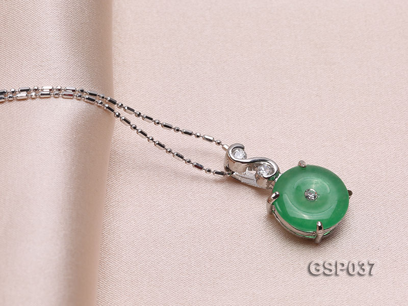 11x20mm Round Disc-Shaped Green Jade Pendant big Image 2