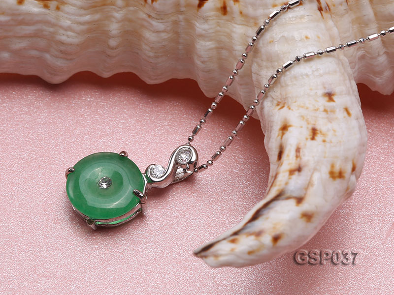 11x20mm Round Disc-Shaped Green Jade Pendant big Image 4
