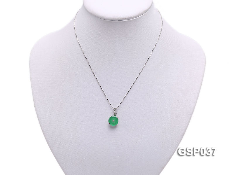 11x20mm Round Disc-Shaped Green Jade Pendant big Image 5