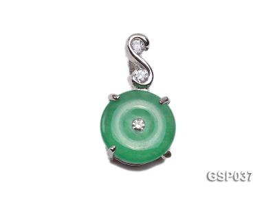 11x20mm Round Disc-Shaped Green Jade Pendant GSP037 Image 1