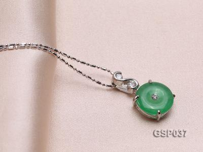11x20mm Round Disc-Shaped Green Jade Pendant GSP037 Image 2