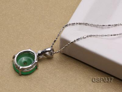 11x20mm Round Disc-Shaped Green Jade Pendant GSP037 Image 3