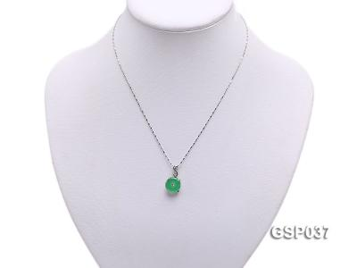 11x20mm Round Disc-Shaped Green Jade Pendant GSP037 Image 5