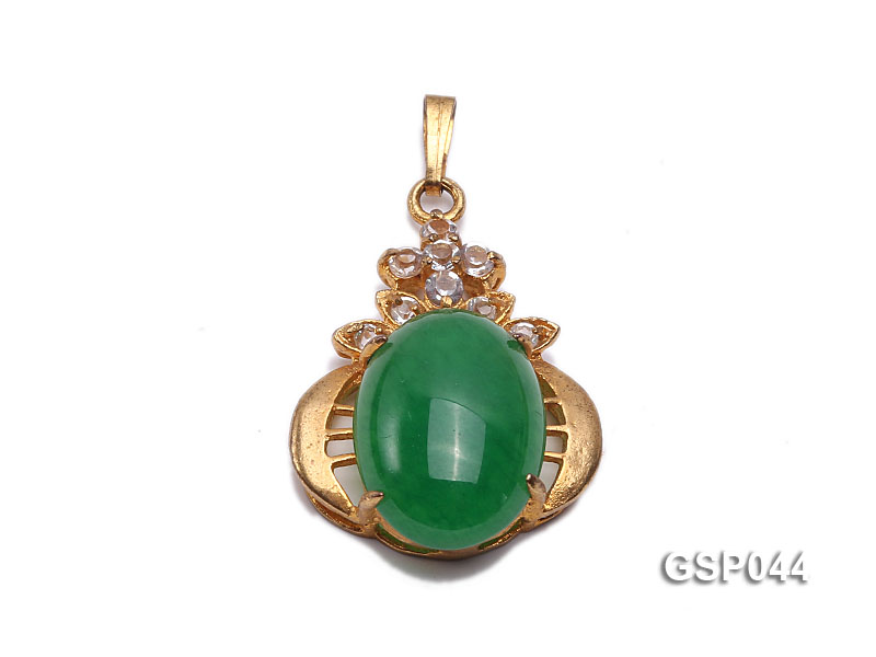 20x25mm Green Jade Cabochon Pendant with Zircon big Image 1