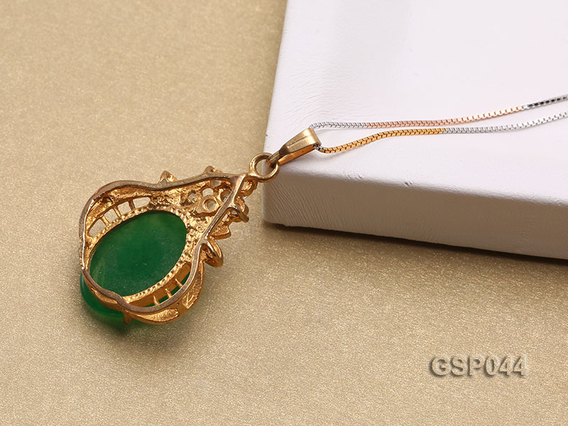 20x25mm Green Jade Cabochon Pendant with Zircon big Image 4