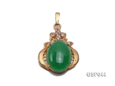 20x25mm Green Jade Cabochon Pendant with Zircon GSP044 Image 1