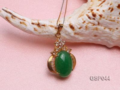 20x25mm Green Jade Cabochon Pendant with Zircon GSP044 Image 3
