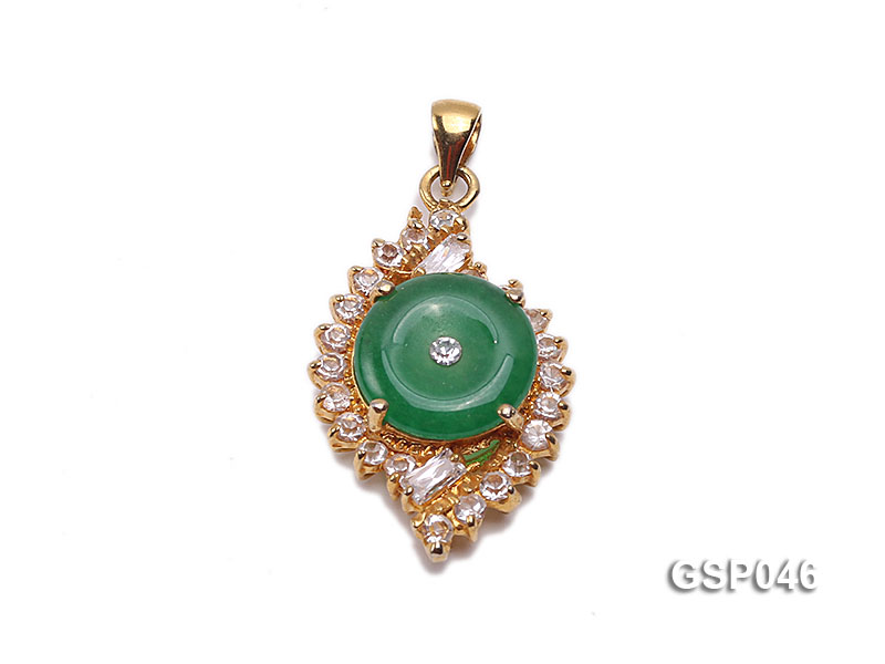 18x25mm Round Disc-Shaped Green Jade Pendant big Image 1