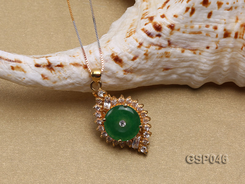18x25mm Round Disc-Shaped Green Jade Pendant big Image 3