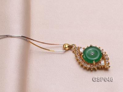 18x25mm Round Disc-Shaped Green Jade Pendant GSP046 Image 2