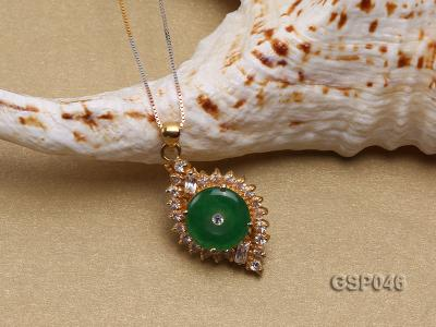 18x25mm Round Disc-Shaped Green Jade Pendant GSP046 Image 3
