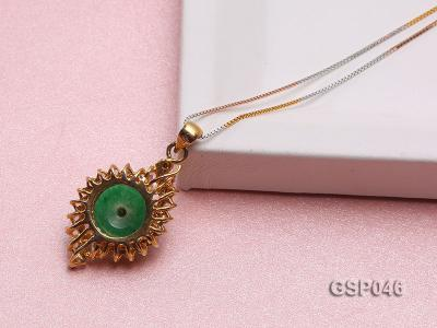 18x25mm Round Disc-Shaped Green Jade Pendant GSP046 Image 4