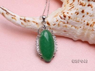 20x36mm Green Jade Cabochon Pendant with Zircon GSP049 Image 3