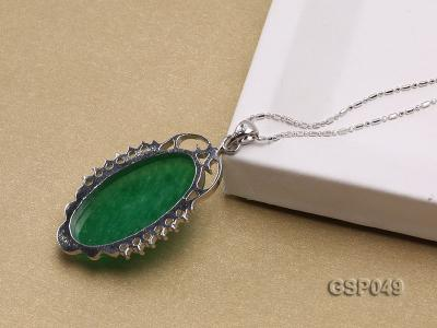 20x36mm Green Jade Cabochon Pendant with Zircon GSP049 Image 4