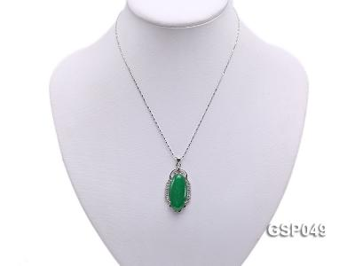20x36mm Green Jade Cabochon Pendant with Zircon GSP049 Image 5