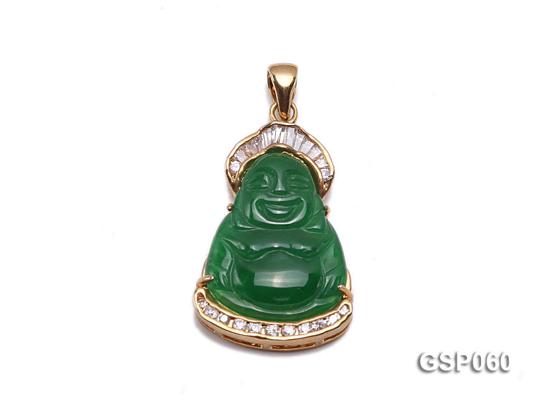 22x34mm Carved Green Buddha-Shaped Green Jade Pendant  big Image 1