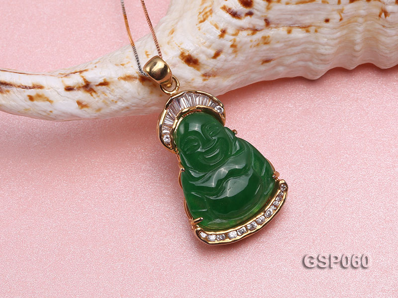 22x34mm Carved Green Buddha-Shaped Green Jade Pendant  big Image 3