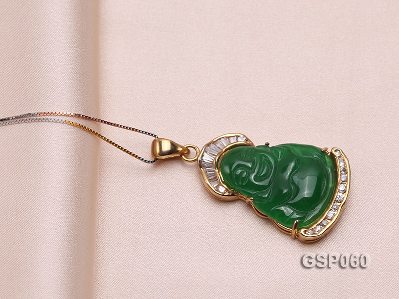 22x34mm Carved Green Buddha-Shaped Green Jade Pendant  big Image 4