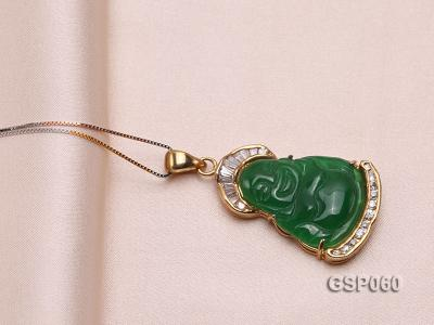 22x34mm Carved Green Buddha-Shaped Green Jade Pendant  GSP060 Image 4