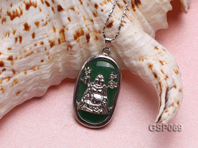 18x30mm Green Buddha-Head Jade Pendant  big Image 3