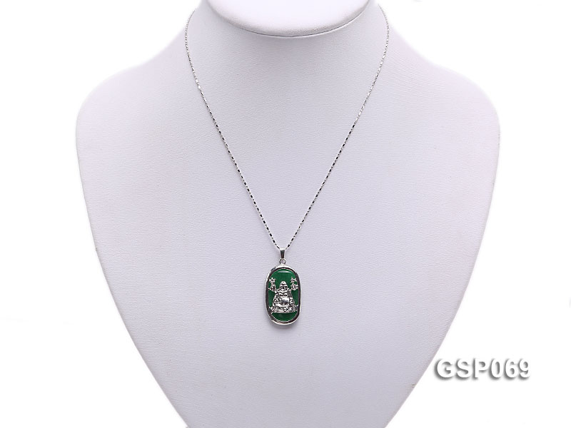 18x30mm Green Buddha-Head Jade Pendant  big Image 5