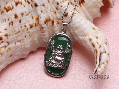 18x30mm Green Buddha-Head Jade Pendant  GSP069 Image 3