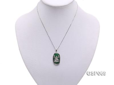 18x30mm Green Buddha-Head Jade Pendant  GSP069 Image 5