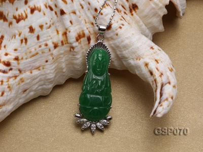 15x40mm Carved Kwan-Yin Green Jade Pendant  GSP070 Image 3