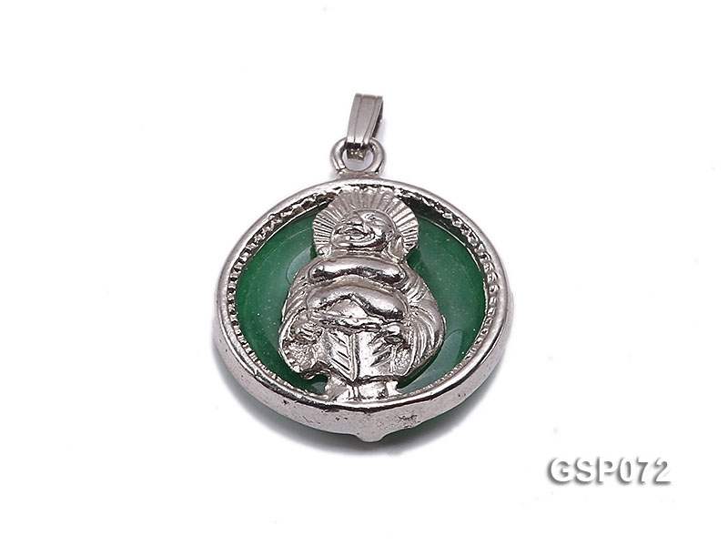 22mm Round Green Buddha-Head Jade Pendant  big Image 1