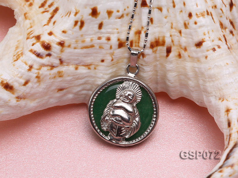 22mm Round Green Buddha-Head Jade Pendant  big Image 4